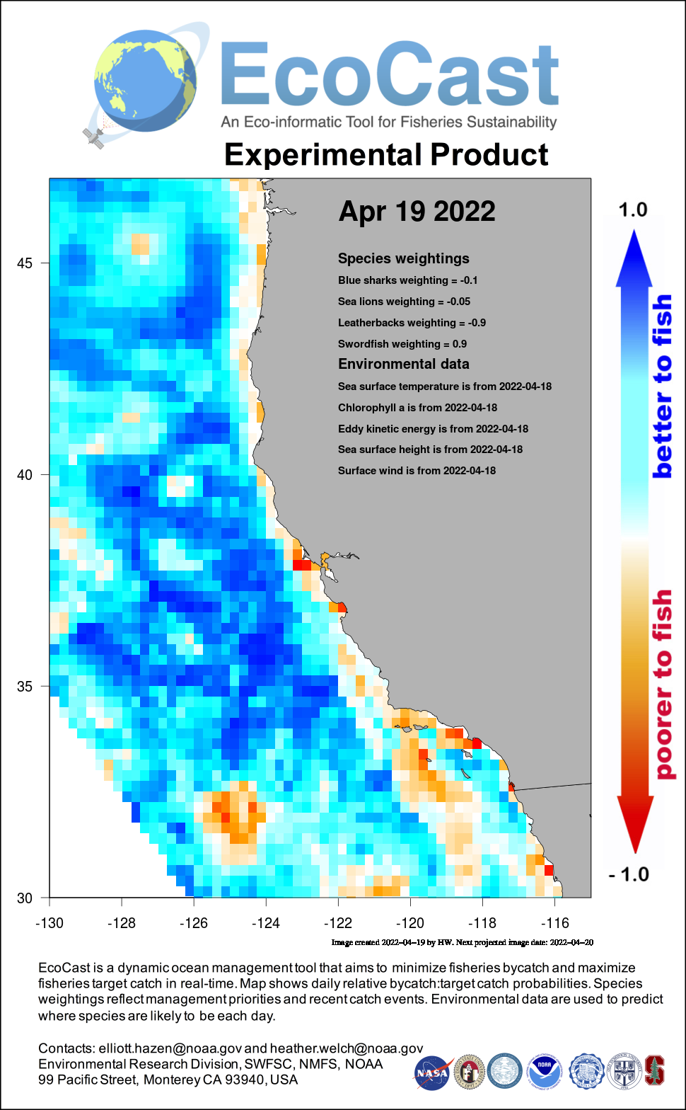 Mean sea surface temperature off Southern California - today