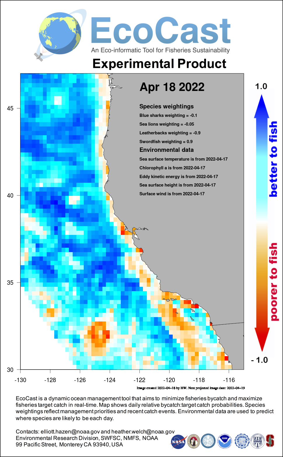 Mean sea surface temperature off Southern California - 1 day ago