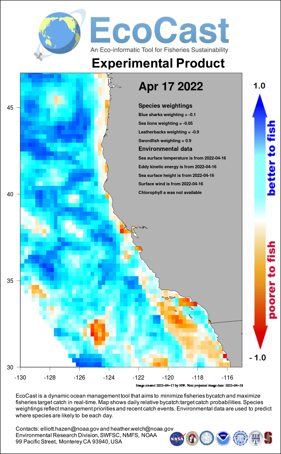 Mean sea surface temperature off Southern California - 2 days ago
