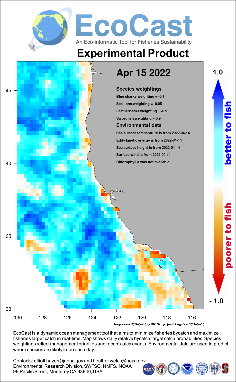 Mean sea surface temperature off Southern California - 4 days ago