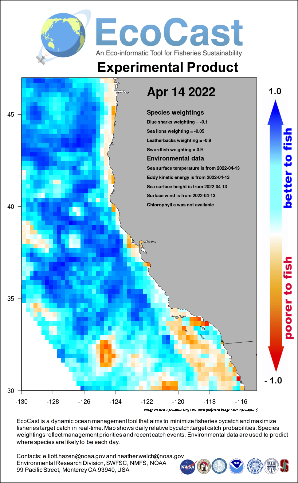 Mean sea surface temperature off Southern California - 5 days ago