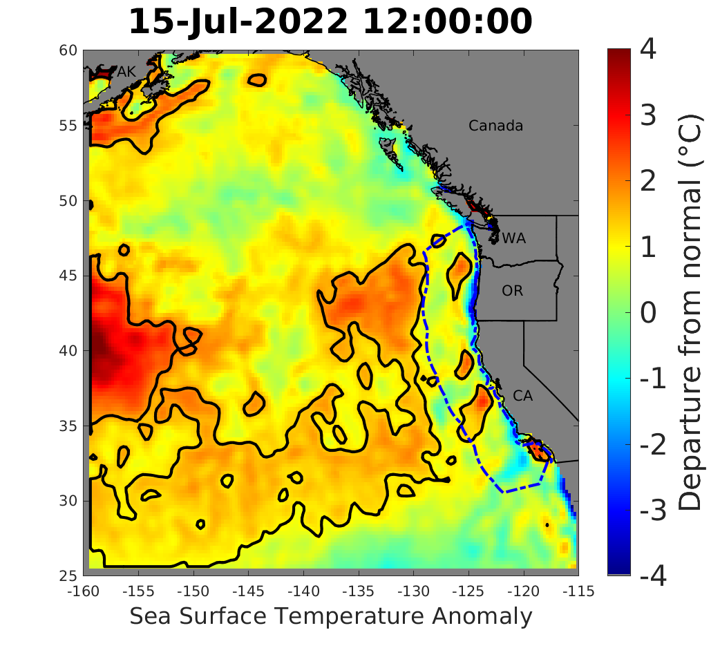 Comparative images of warmwater anomalies in spring 2015 versus summer 2019